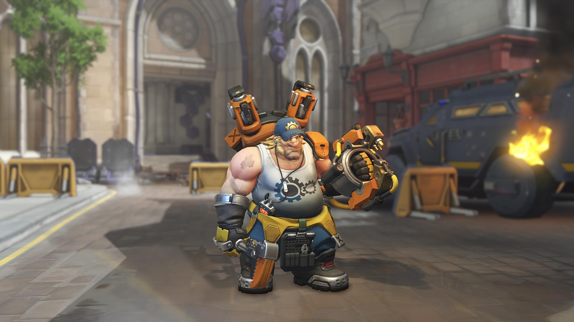 One of Torbjorn's skins from the Overwatch: Uprising event. He's missing his facial hair, and it's just really...weird.